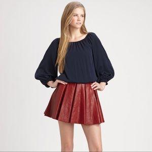 Alice + Olivia Black Smocked Silk Blouson Top